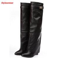 Stylesowner New Stylish Winter Women Knee High Boots Wedage Heel Metal Lock Fold Point Toe Buckle