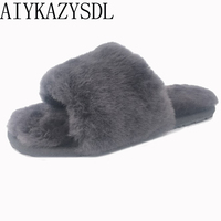 AIYKAZYSDL Autumn winter Women Genuine Real Sheep fur slides mules indoor Plush Furry slippers flat sandals plus size 35 44