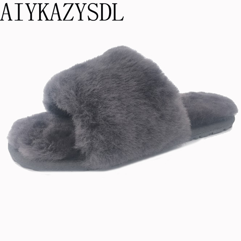 AIYKAZYSDL Autumn winter Women Genuine Real Sheep fur slides mules indoor Plush Furry slippers flat sandals plus size 35-44