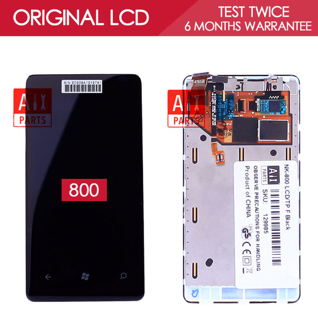 100% Tested Original AMOLED 800x480 Display For NOKIA Lumia 800 Screen LCD Touch Screen with frame Digitizer Assembly Parts