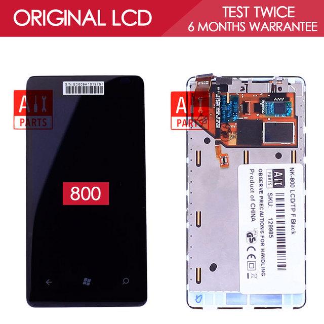 100% probado original amoled pantalla 800x480 para nokia lumia 800 pantalla lcd táctil digitalizador con marco asamblea partes