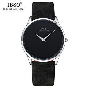 Image 5 - IBSO erkek saatler Top marka lüks 7MM ultra ince arama hakiki deri kayış izle erkekler moda basit Relogio masculino