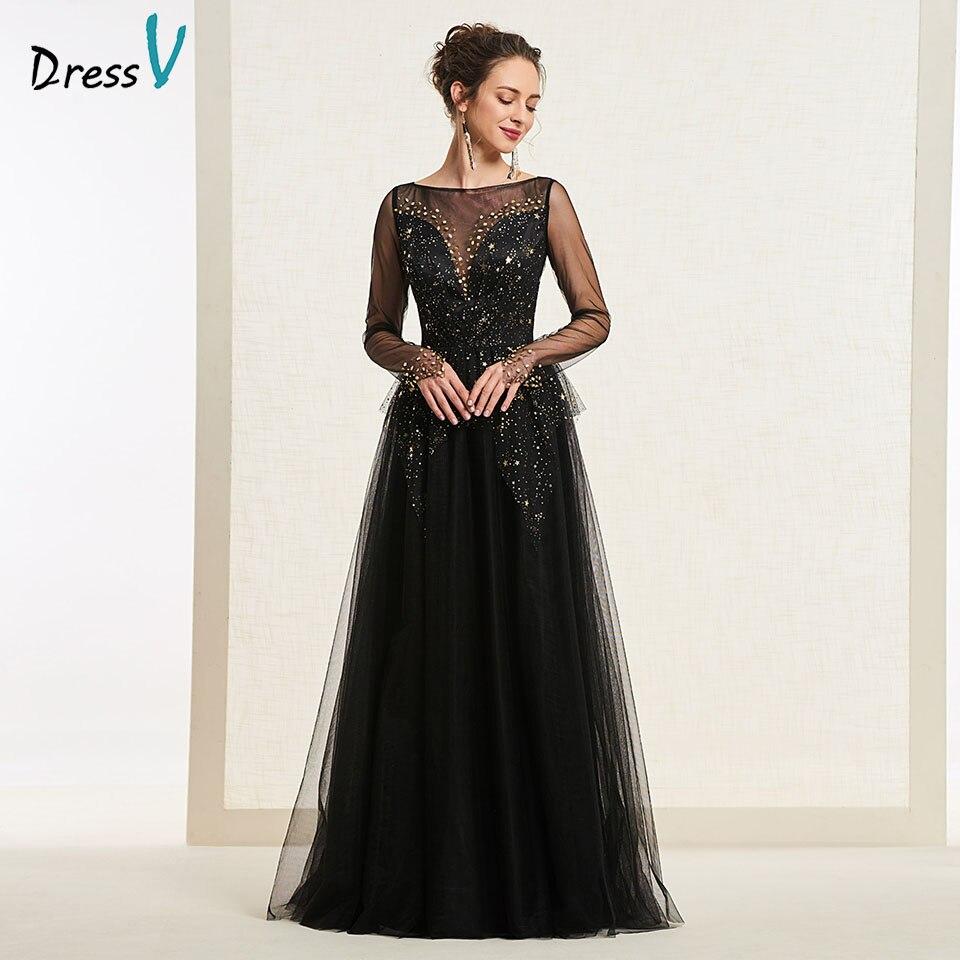 Dressv Black Evening Dress Scoop Neck A Line T Long Sleeves Button Floor Length Wedding Party Formal Dress Evening Dresses
