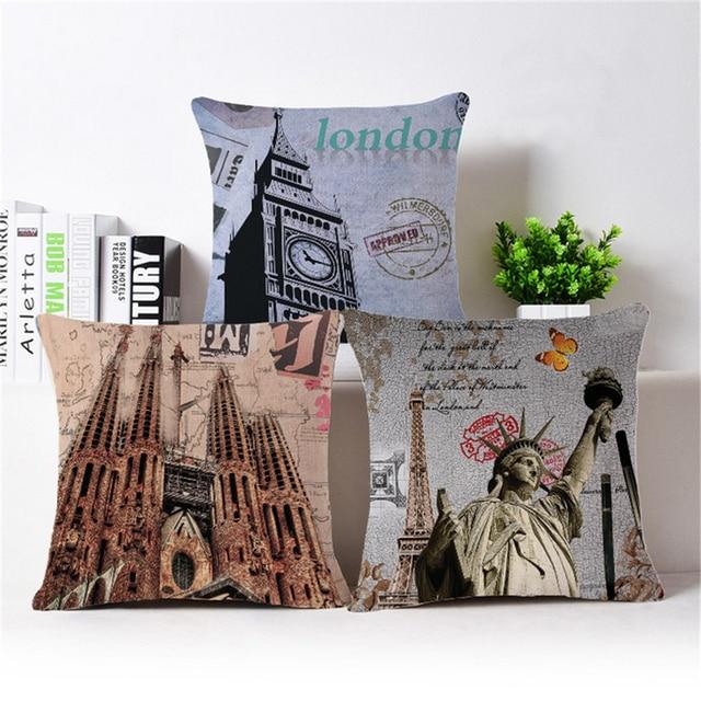 Vintage Home Decor London Europe Decorative Cushion Covers Retro ...