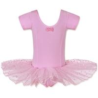 Retail Free Shipping Girls Dance Dress Short Sleeve Leotard Ballet Tutu Skate Fairy Party Show Skirt