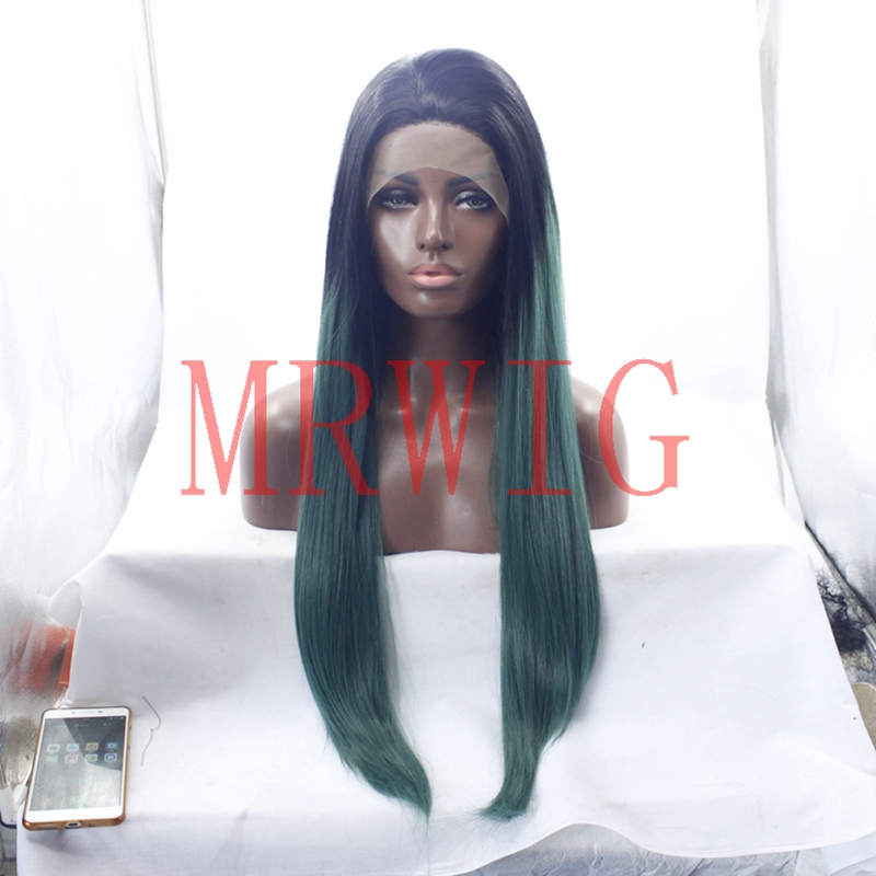 MRWIG free part long straight 1b# ombre green lace front synthetic hair wigs 26in150%den ...