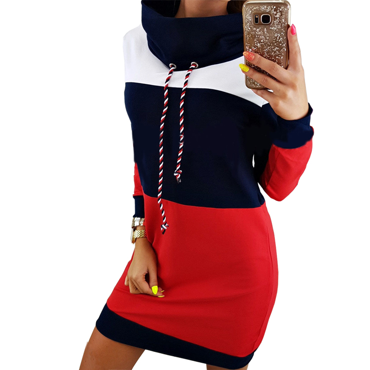 Women Winter Turtleneck Long Sleeve Hooded Plus Size 2018 Autumn Striped Colorful Hoodie Dress Sweatshirt Dress