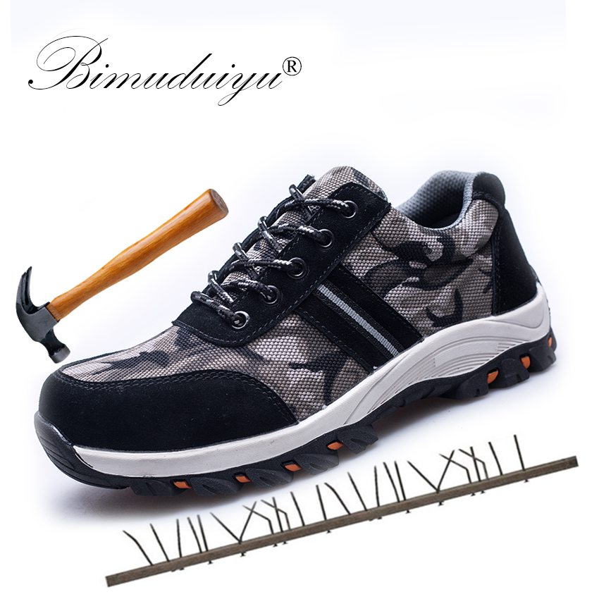 BIMUDUIYU Men Safety Work Boots Camouflage Spring Breathable Mesh Steel Toe Casual Shoes Men Labor Insurance