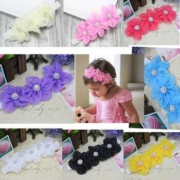 8PCs per Set 8Colors Cute Baby Girls Handmade Three Five-patels Flowers Rhinestones Headbands Free Shipping фото