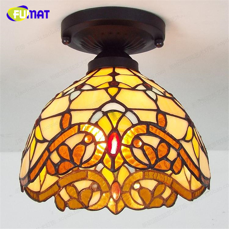 FUMAT Glass Ceiling Lamp European Stained Glass Lamp For Living Room Balcony Front porch Aisle Baroque Led Ceiling Lights modern led ceiling lamp aisle simple living room porch balcony study room long lamp