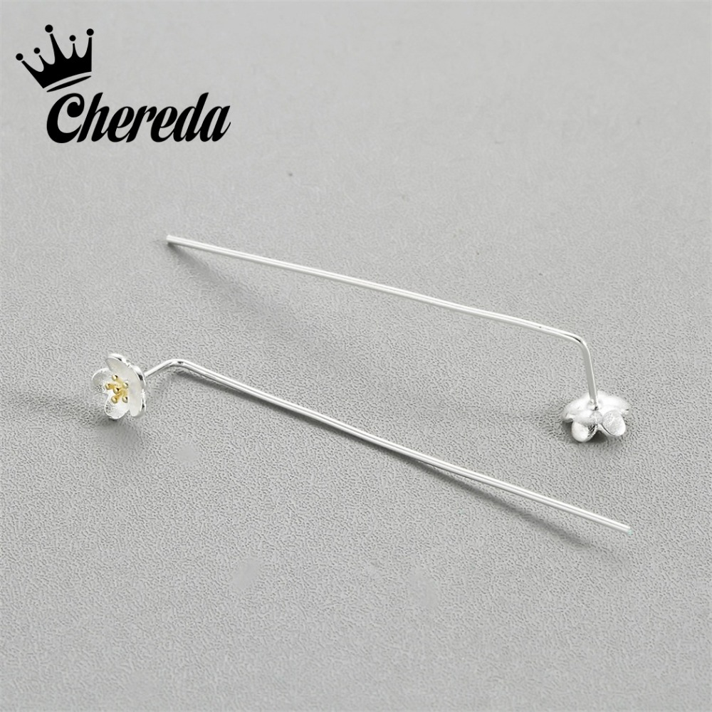 Chereda New Fashion Flower Drop Earring Silver Plated Classic Women Charms Earrings Trendy Engagement Wedding Accessories Gift