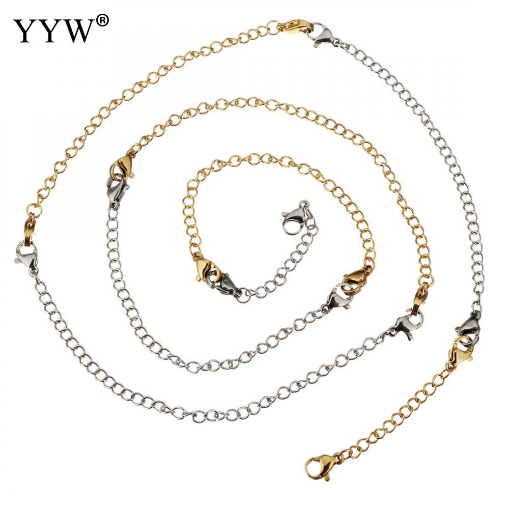 8Strands/lot Hot sale 2 3 4 6 inch Stainless Steel Silver/gold Extend Chain With 10mm lobster Clasps for necklace bracelet 2018