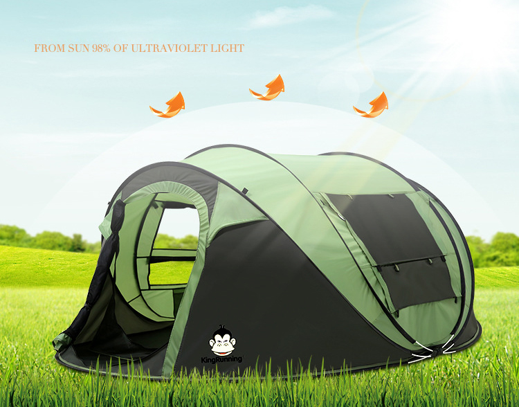 large space 5-6 people automatic open camping tent 1 second quick open family outdoor picnic tent outdoor big quick open tent fully automatic two hall 6 8 person double layer camping tent against big wind large family tent