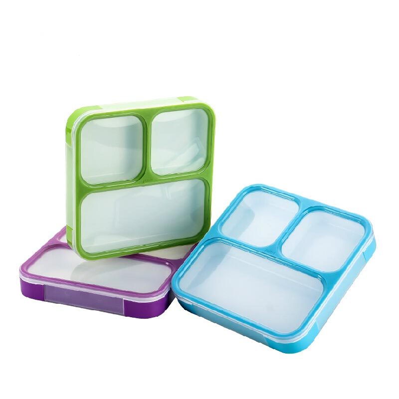Portable Three Block School Office Ourdoor Bento Box Plastic Sealed Retain Freshness Lunchbox Microwave Dishwasher Available FH6