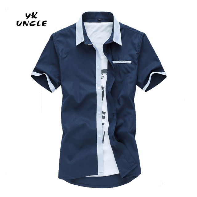 Hot Sale Men shirt Brand Loose New Summer short sleeve 100% cotton mens shirts casual male clothing Plus Size M-5XL,YK UNCLE