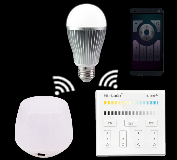 E27 9W Mi.light CCT(Warm White+White) Led Bulb Lamp+WIFI Ibox Led Controller+2.4G CCT Color Temperature Remote Controller white