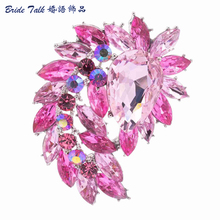 2015 Vintage Inspired Wedding Brooches Bouquet Austrian Crystal Rhinestone Drop Brooch Pins for Bridal Jewelry Accessories 4993