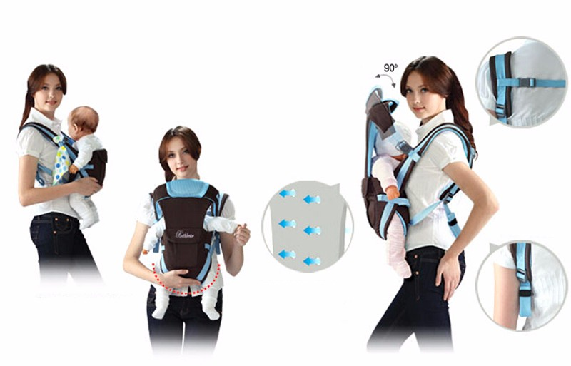 0-30 Months Breathable Front Facing Baby Carrier 4 in 1 Infant Comfortable Sling Backpack Beige One size 6