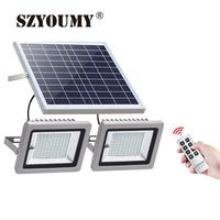 SZYOUMY 2 in 1 Solar Food Light Double Head Light Waterproof IP65 Garden Path Street Solar Landscape Light 2*100Leds