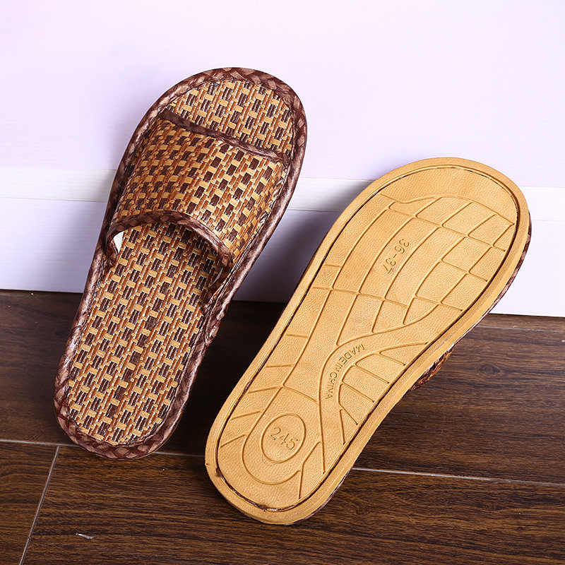 079caf54474 Indoor New Summer Slippers Cane Grass Weaving Breathable Non-slip Female  Sandals Beach Flip Flops