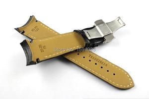 Image 3 - 23mm (klamra 20mm) T035617A wysokiej jakości srebrna klamra motylkowa + T035439 czarne prawdziwa skóry zakrzywiony koniec paski Watchband człowiek