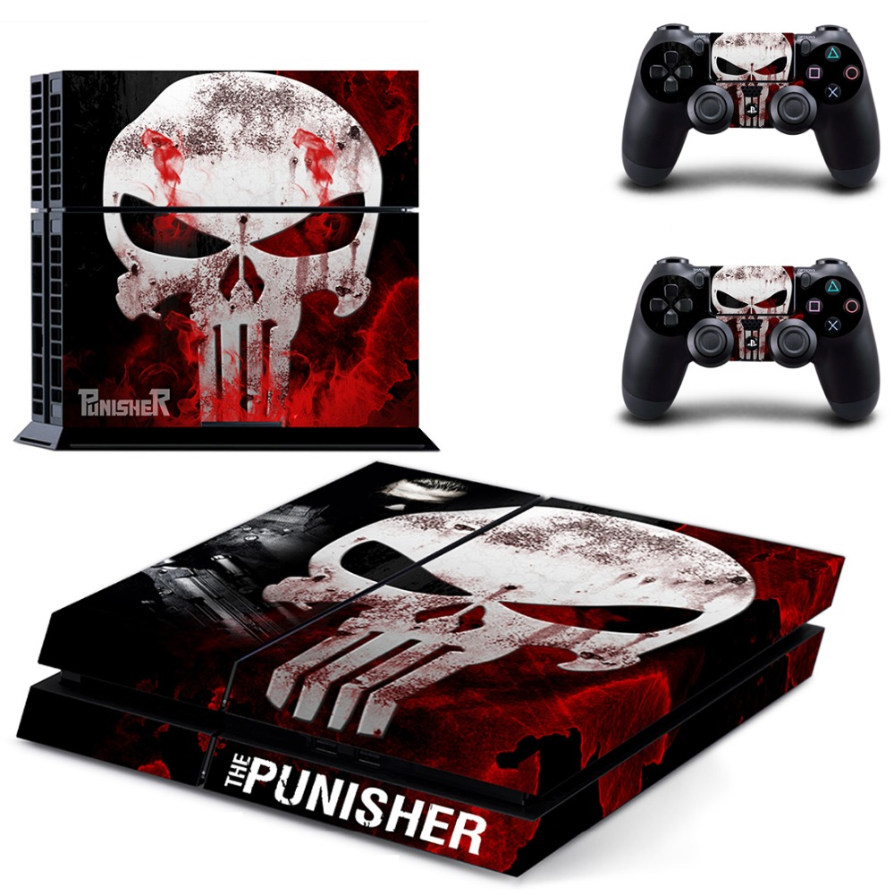 The Punisher PS4 Skin Sticker Decal Vinyl for Sony Playstation 4 Console and 2 Controllers