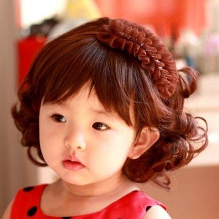 Fashion Style Baby Children Kids Girls Short Wavy Curly Brown Hair