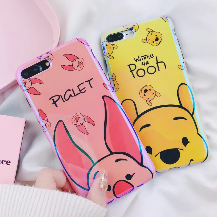 6e4ff6ba6e70 For iPhone XS Max XR X Winnie Pooh Bear Pig Stitch Blue Ray Laser Glossy  Soft Case For iPhone 8 6 6S 7 Plus