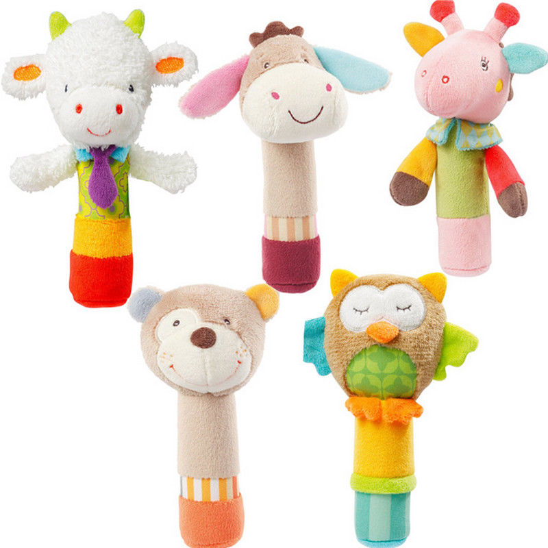 New Baby Developmental Animal Soft Stuffed Infant Baby Plush Toys Rattles Kids