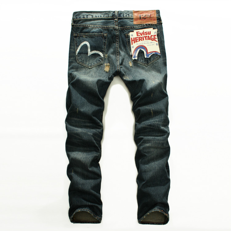 Evisu 2018 Mens Denim Jeans Tide Brand Casual Fashion Trousers Men Vintage Repaired Distressed Straight Ripped Hole Jeans 9216