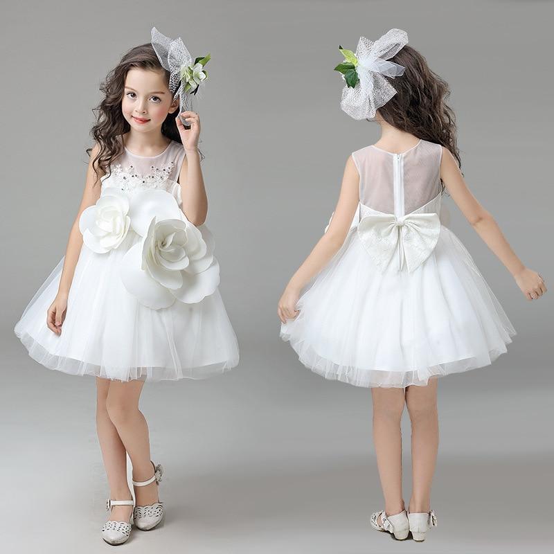 YNB Wholesale 6 pieces children white evening dress kids girls wedding dresses with flower 2017 summer clothes children `s dress