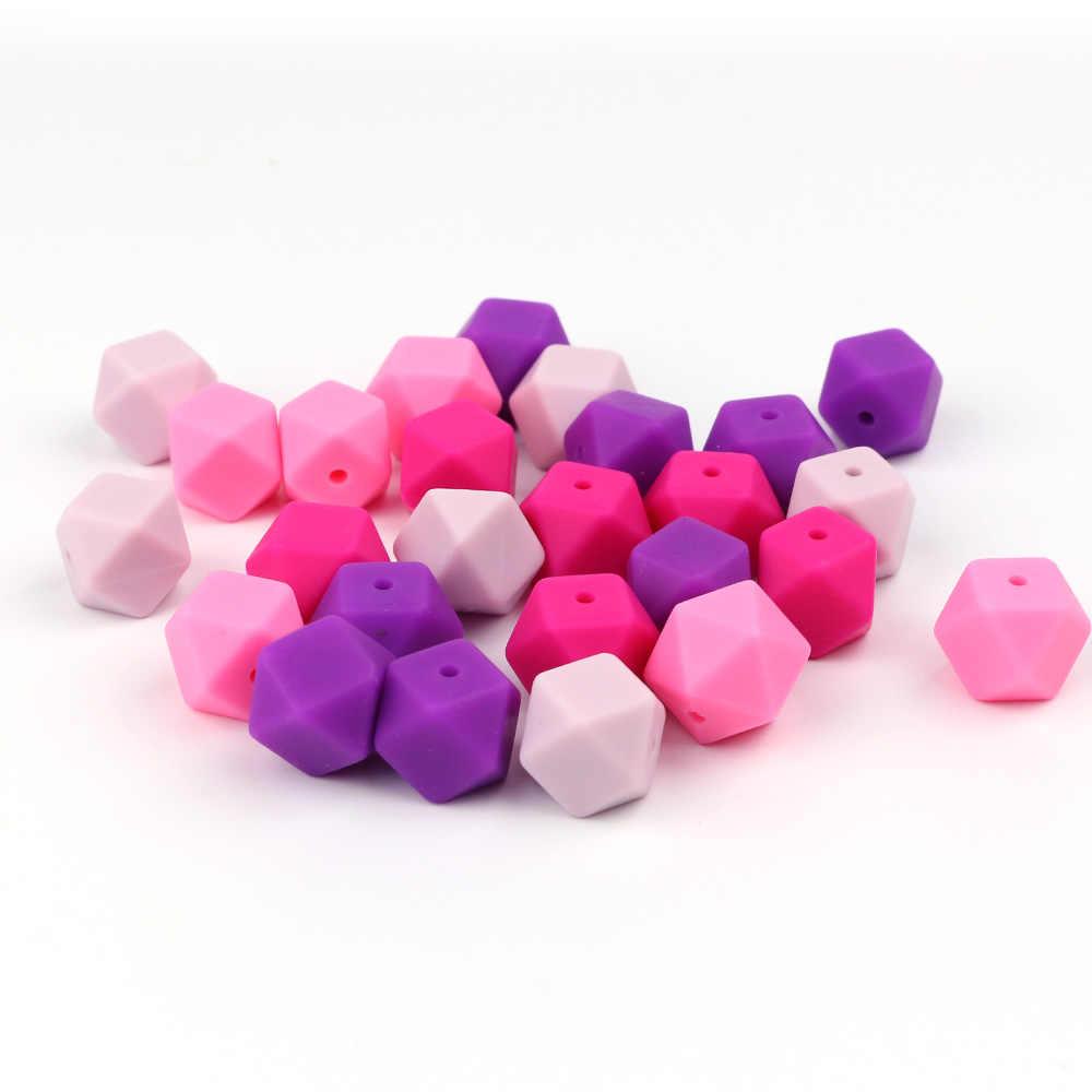 TYRY. HU 20 sztuk sześciokątne kulki silikonowe koraliki dla ząbkującego dziecka na naszyjnik dziecko gryzak DIY łańcuszek smoczka BPA bezpłatne 14mm