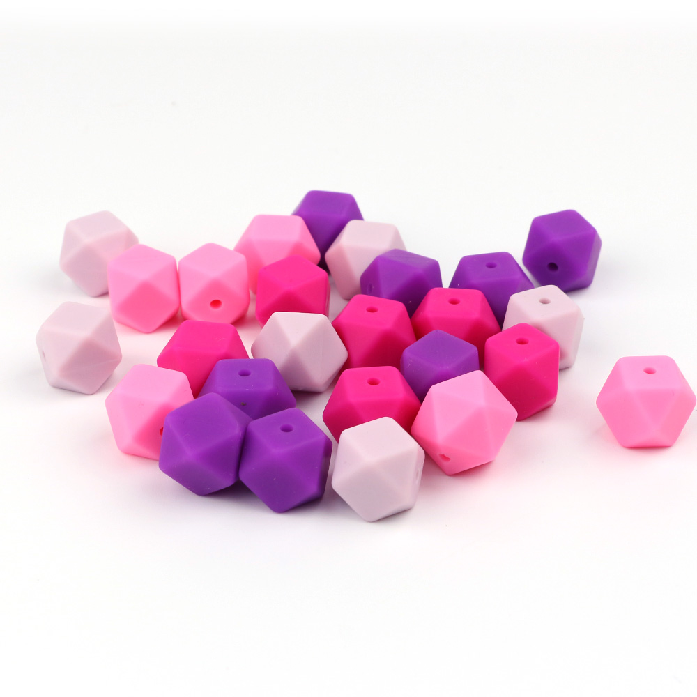 Tyry.hu 20pcs Hexagon Silicone Beads Baby Teething Beads For Necklace Baby Teether Diy Pacifier Chain Bpa Free 14mm