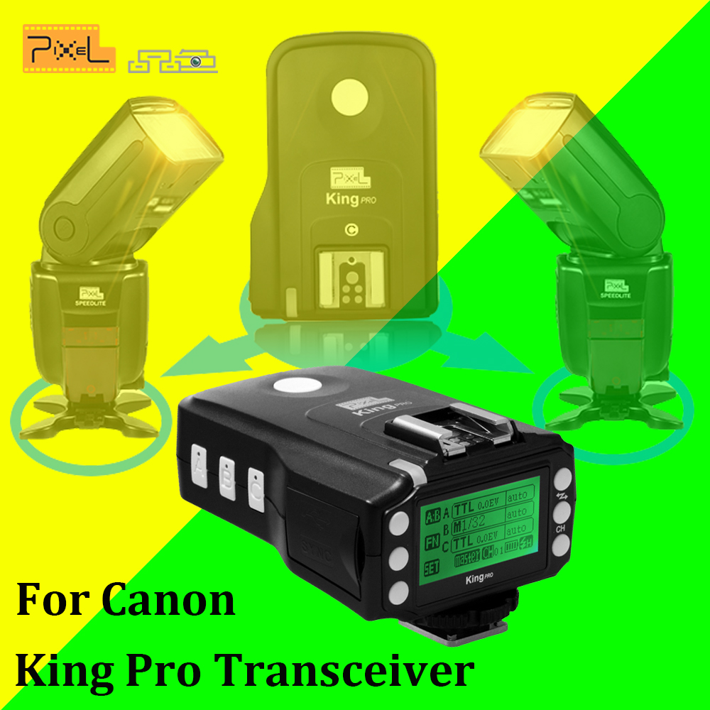 Pixel King Pro Transceiver Flash Speedlite TTL High-Speed Wireless Flash Trigger Remote Control For Canon Eos Digital SLR Camera 2pcs godox cells ii 1 8000s wireless transceiver trigger kit for canon eos camera speedlite and studio flashes