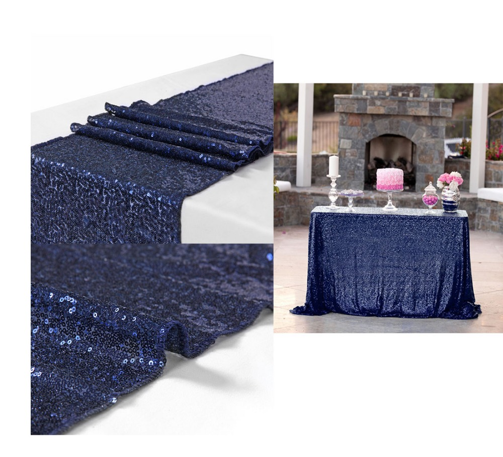Us 35 49 29 Off 10pcs Lot 30x180cm Luxury Navy Blue Sequin Table Runner Wedding Party Table Decoration Solid Color Table Runners Rose Weddings In