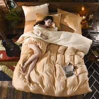 Winter Lamb Flannel Solid Color Thickening 4pcs Ab Side Bedding Sets Duvet Cover Bed Sheet/bed Cover Pillowcase