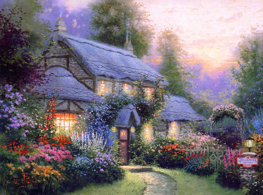 Free ShippingThomas KinkadeKincaidsummer CottagehouseHOME WALL Decor Prints Realistic Oil Painting Printed On Canvas 524 In Calligraphy From