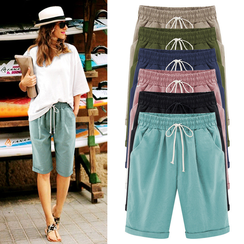2019 Large Size Summer Shorts Women Solid Pocket Elastic High Waist Cotton Casual Female Short Plus Size 7xl