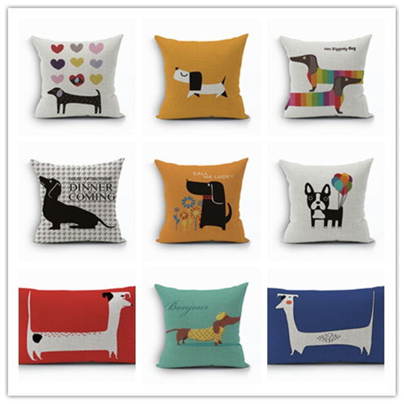 2017linen Cotton Pillows Coversn Covers Color Dachshund