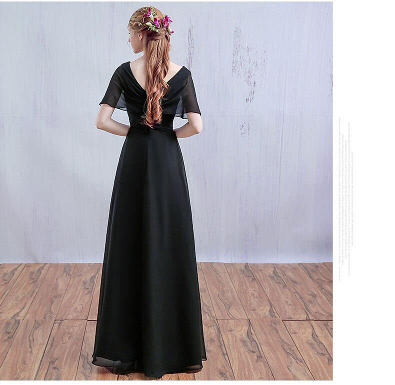 Cap manches longues femmes modernes noir vin rouge mère de la mariée robes en mousseline de soie longue col en v ligne robes de fantaisie - 2