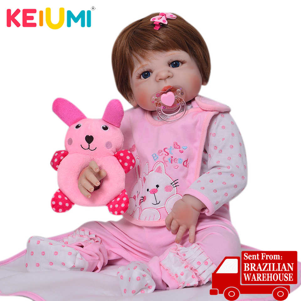 KEIUMI 23'' Alive Reborn Baby Vinyl Full Silicone Dolls Lifelike Ethnic Doll Reborn Baby Girl For Kids Birthday Gifts