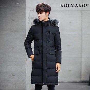 2018 New Winter Mens Duck Down Jackets Slim Fit Men's Long Thick Hooded Jackets Snow Overcoats Big Size 3XL,4XL,5XL Coats Men