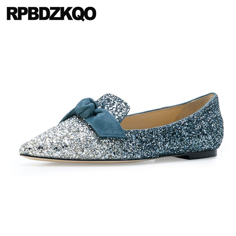Blue Sequin Large Size Gold Pointy Ballerina Sparkling Women Chinese Wedding Shoes Flats Bow Party Ballet 10 Glitter Loafers protective housing side frame case for yi action sports camera