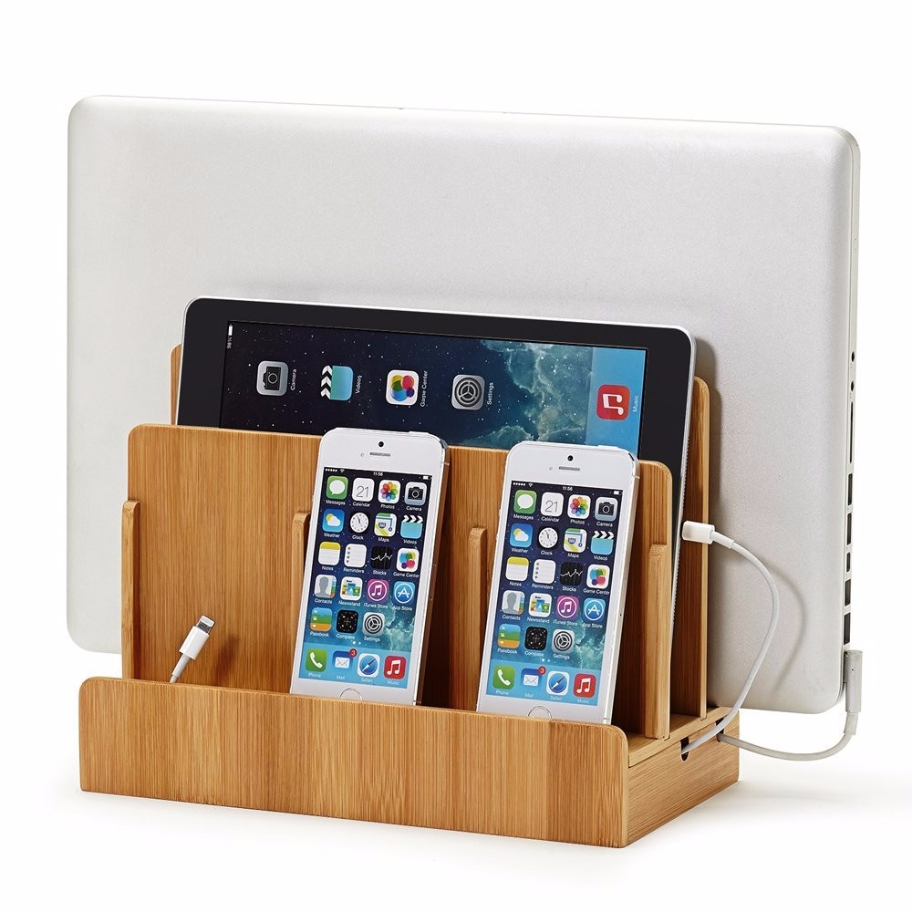 Multi-Function Bamboo Wood Charge Station Charging For Laptops Tablets Phones-Strong Build Eco-Friendly Station Desktop Holder