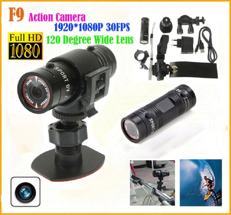 F9 moto vélo tachygraphe Full HD casque caméra DV sport extrême caméscope Mini caméscope Sport caméra