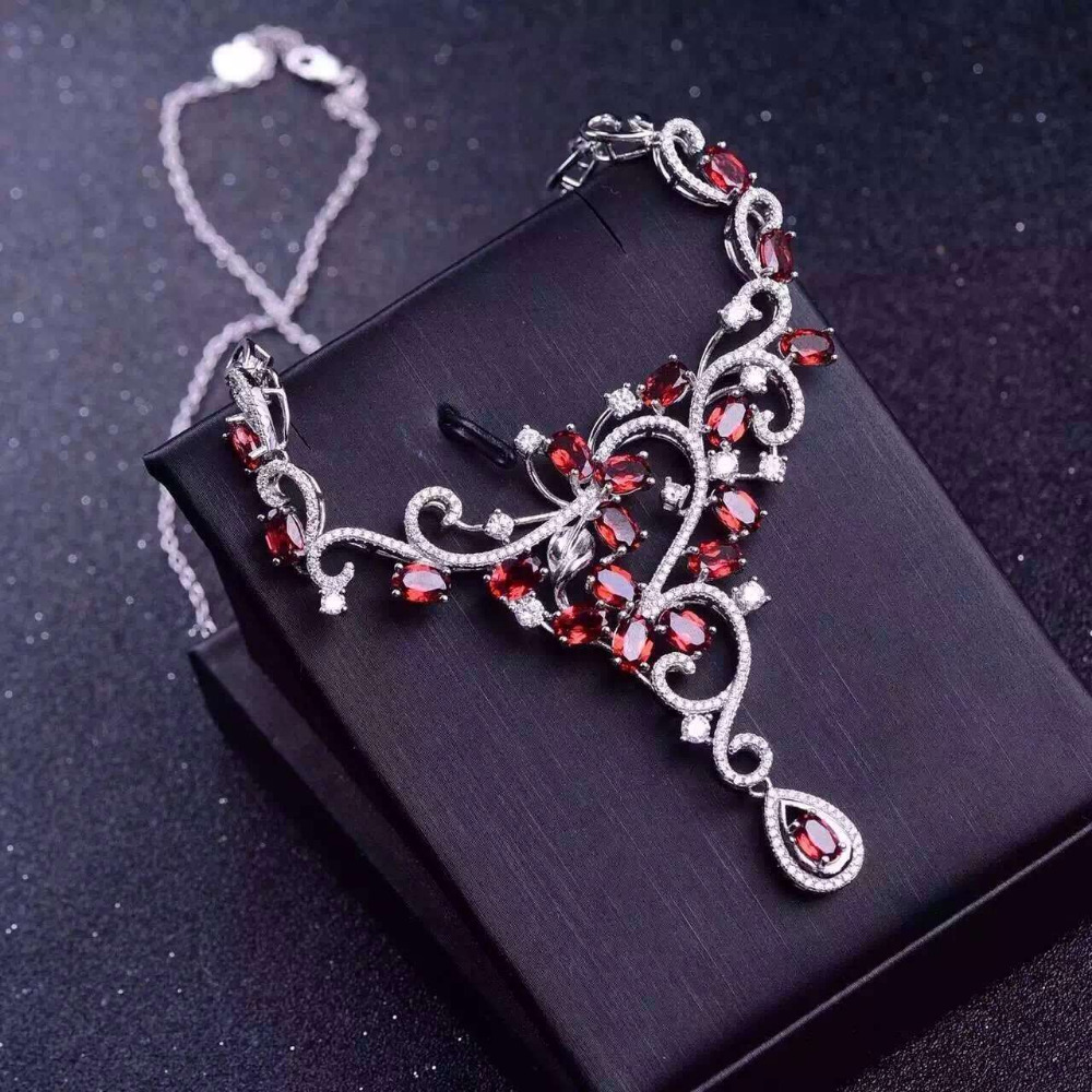 Natural red garnet Necklace natural gemstone Pendant Necklace S925 silver trendy big luxurious Flowers women party Jewelry