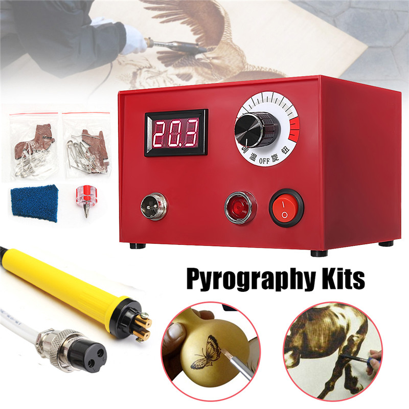 AC 220V 50W Digital Multifunction Pyrography Machine US Plug with Pyrography Pen Wood Burning Pen Craft Tool Kit Sets us plug 24x 30w 110v wood burning pyrography tool kit craft wood burning pen tips full set numbers stencil for hobby craft