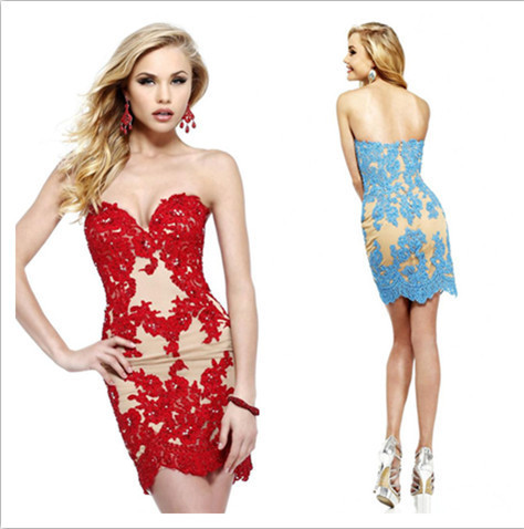 Red Blue Black White And Nude Color Sweetheart Lace Homecoming