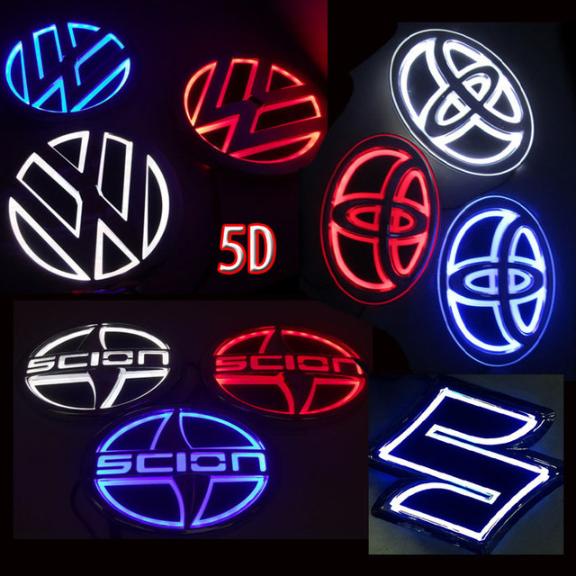 5D KIA Car Logo Rear Laser Light Red Blue White Light led Emblem stickers K5 Sorento Soul Cerato Forte Replace