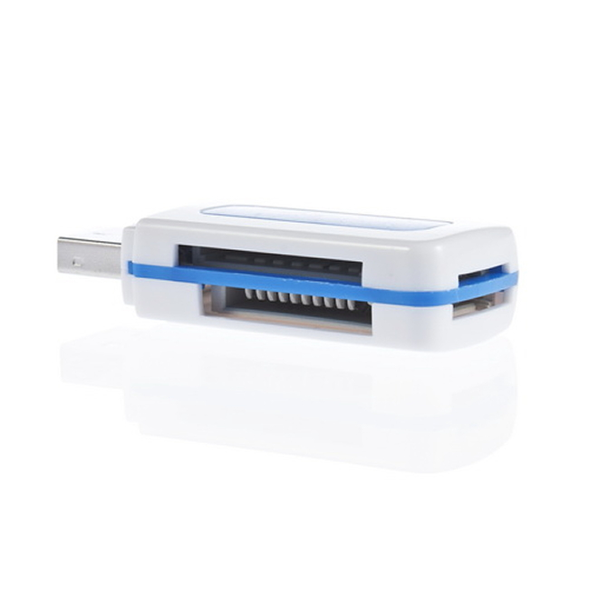USB 2.0 4 in 1 Memory Multi Card Reader for M2 SDHC DV Micro SD TF CardBlue Wholesale